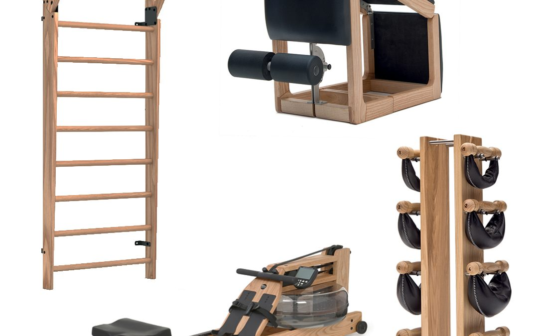 Pack Home con WaterRower, WallBar, TriaTrainer e SwingTower, in legno di Frassino